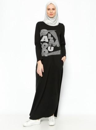 Taşlı Elbise - Siyah