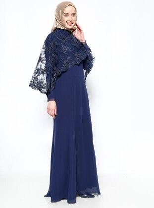 Muslim Evening Dress - Navy Blue - Sevdem Abiye 242684