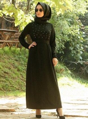 Melek Aydın İncili Elbise - Siyah