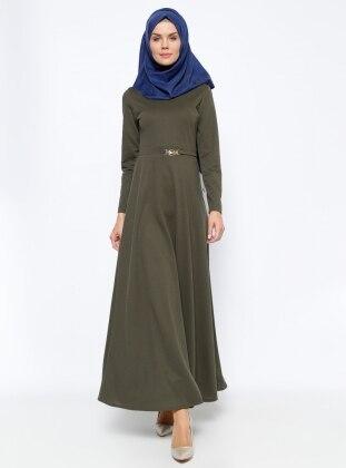 Kemer Süslü Elbise - Haki