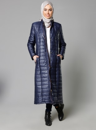 Zippered Outerwear - Navy Blue