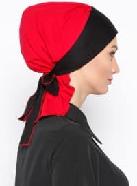 Red - Black - Cotton - Plain - Pinless - Instant Scarf