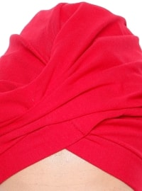 Red - Cotton - Plain - Pinless - Instant Scarf