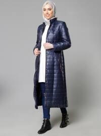Zippered Outerwear - Navy Blue