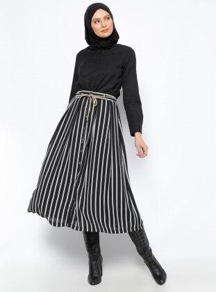 Çizgili Etek - Siyah Belle Belemir