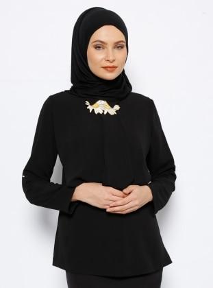 Papatya Detaylı Bluz - Siyah NZL