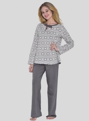 Pijama - Gri Ekru - I&D LINGERIE