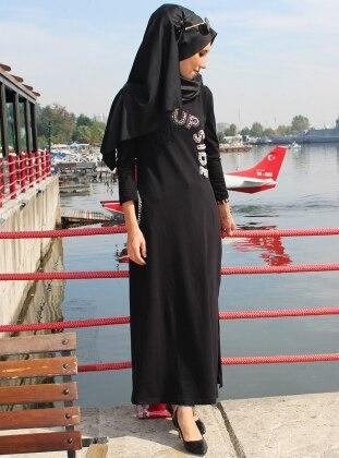 Esra Üstün Taşlı Spor Elbise - Siyah