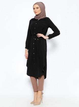 Yaka Detaylı Tunik - Siyah Belle Belemir
