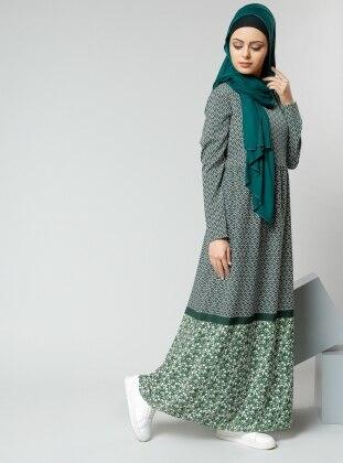 Desenli Elbise - Haki