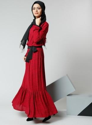 Natürel Kumaşlı Beli Büzgülü Elbise - Bordo