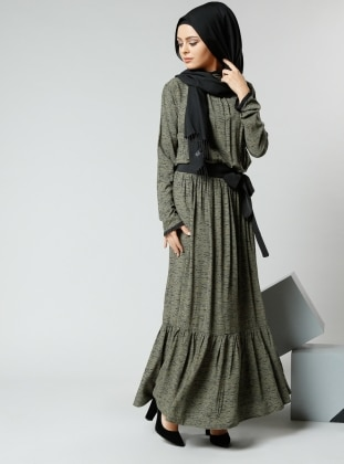 Natürel Kumaşlı Beli Büzgülü Elbise - Haki