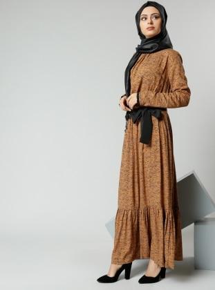 Natürel Kumaşlı Beli Büzgülü Elbise - Safran