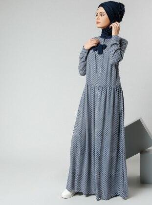 Natürel Kumaşlı Desenli Elbise - Lacivert