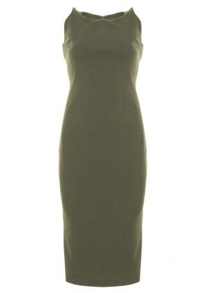 Sırt Detaylı Abiye Elbise - Haki Appleline Abiye