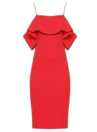 Taşlı Abiye Elbise - Kırmızı Appleline Abiye