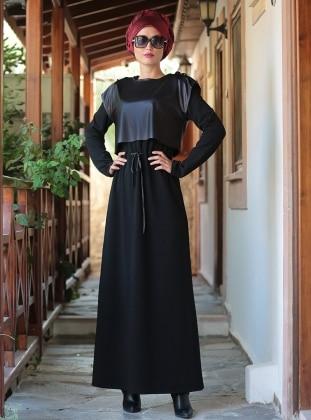 Deri Yelekli Elbise - Siyah