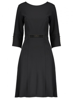 Düğme Detaylı Abiye Elbise - Siyah Dans Giyim