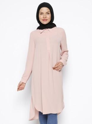 Gizli Düğme Detaylı Tunik - Pudra Eva Fashion