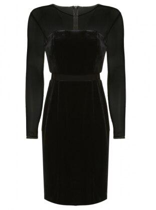 Kadife Abiye Elbise - Siyah
