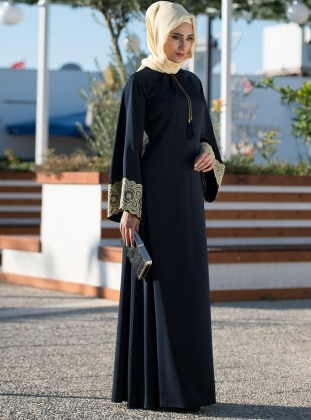 Linda Ferace Elbise - Lacivert MİSS VAQA