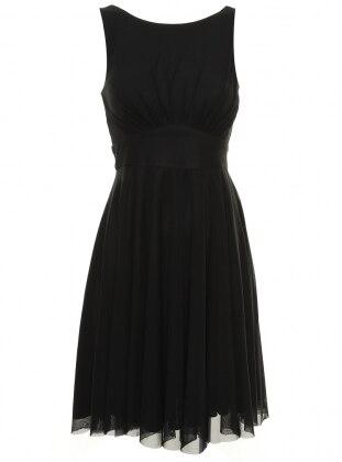 Tül Detaylı Abiye Elbise - Siyah Dans Giyim