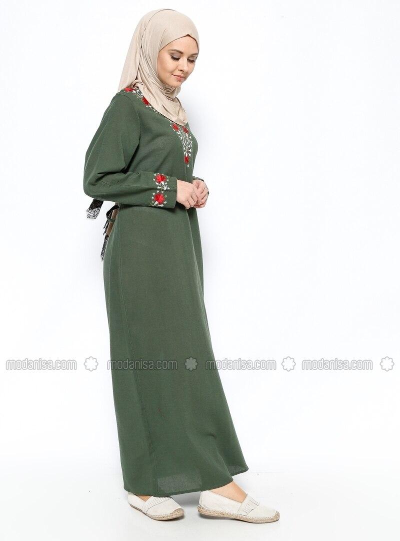 453750245d1a2 Şile Bezi Nakışlı Elbise - Haki - Çkr