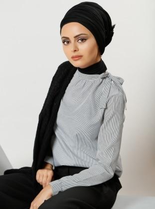 Çizgili Bluz - Siyah