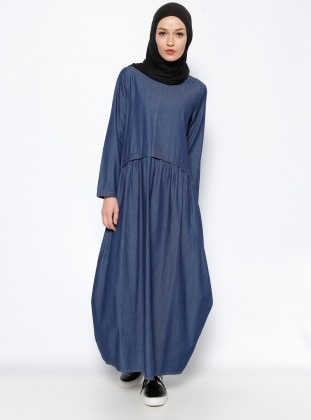 Denim Elbise - Lacivert