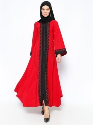 Fermuarlı Ferace - Kırmızı Siyah Ginezza