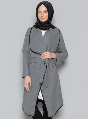 Kaşe Kimono Ceket - Gri Vitrinsbutik