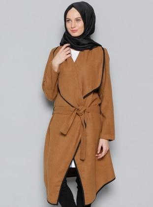 Kaşe Kimono Ceket - Taba Vitrinsbutik