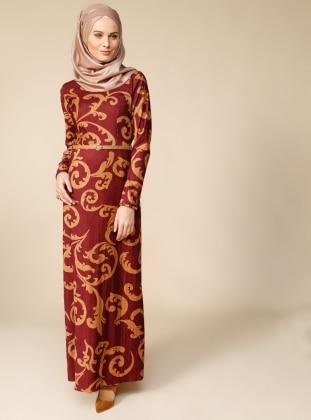 Kemerli Elbise - Bordo Puane