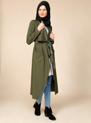 Kemerli Uzun Ceket - Yeşil Puane
