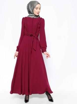 Brit Detaylı Elbise - Mürdüm BÜRÜN