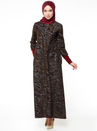 Fermuarlı Ferace - Kahverengi ModaNaz