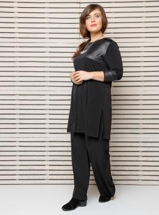 Bol Paça Pantolon - Siyah Alia