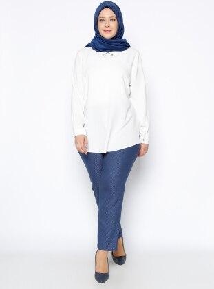 Nevra Desenli Pantolon - Mavi