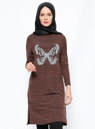 Kelebek Baskılı Tunik - Kahverengi Modesty