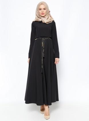 Modesty Kemerli Elbise - Siyah