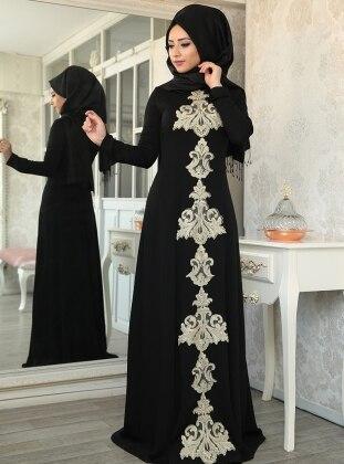 Mahfer Abiye Elbise - Siyah Lef`zen