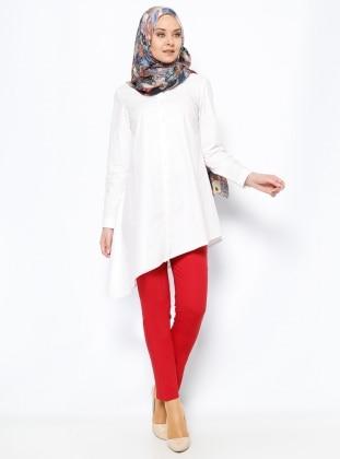 Boru Paça Pantolon - Kırmızı