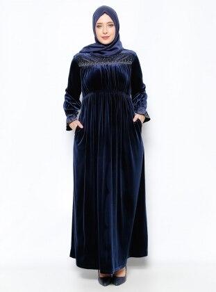 Drop Baskılı Kadife Abiye Elbise - Lacivert Ginezza