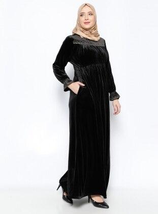 Drop Baskılı Kadife Abiye Elbise - Siyah Ginezza