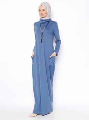 Elit Butik Kolyeli Elbise - İndigo