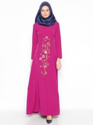 Nakışlı Elbise - Fuşya
