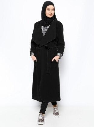 Eva Fashion Şal Yaka Kaban - Siyah