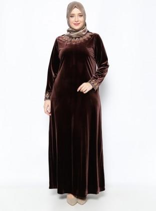Taşlı Kadife Abiye Elbise - Kahve Ginezza