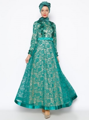 Muslim Evening Dress - Green - MODAYSA 247262