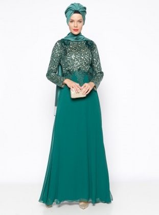 Muslim Evening Dress - Green - MODAYSA 247289